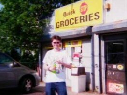 Pat outside the Quick Stop, where Kevin Smith shot his debut.